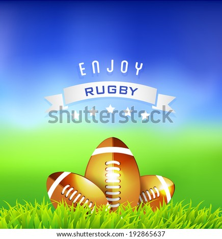 Rugby balls on field ,sport background - Illustration  - stock photo