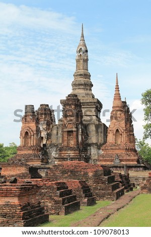 Ruined Old Temple of Ayuthaya, Thailand, - stock photo