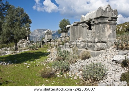 Ruins of ancient tombs in Sidyma,Turkey - stock photo