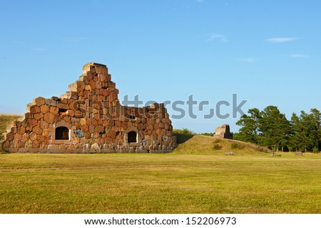Ruins of the fortress Bomarsund  (1832-1854). Remains of fortifications - stock photo