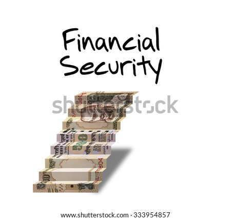 500 rupee indian currency note Folded As Steps, indian paper currency five hundred rupee note, leading to financial security concept - stock photo