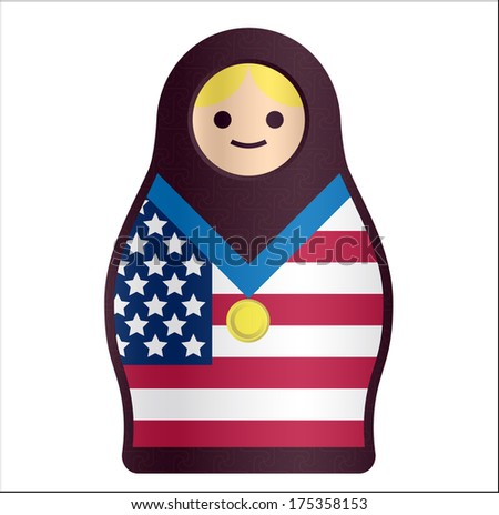 Russian Doll Matryoshka with American Flag and Gold Medal - stock photo