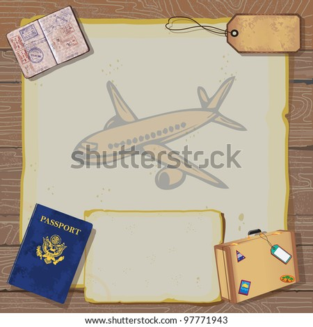 Rustic vintage Bon Voyage Party Invitation with passport, stamps to destinations, luggage and tag on old vintage paper with globe map and airplane set against a woodgrain background. - stock photo