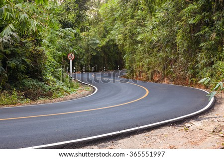 """S"" curved asphalt road view in the forest - stock photo"