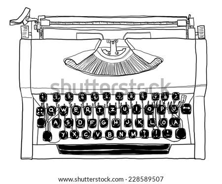 70s, manual typewriter Vintage black and white art painting - stock photo
