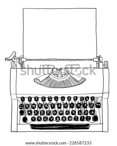 70s, manual typewriter Vintage black and white with paper art painting - stock photo
