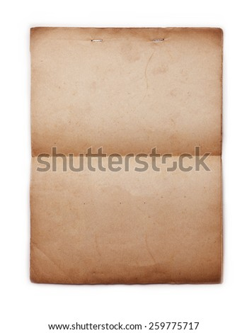 1950s Old paper with stapled top, isolated on white. - stock photo