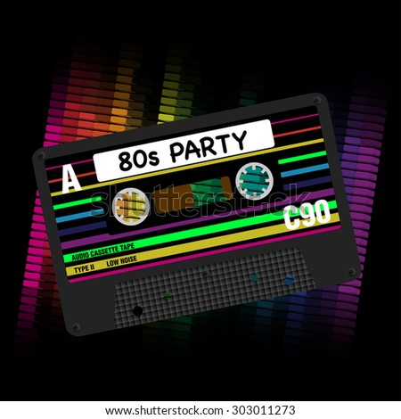 80s Party Background- Eighties Party - Illustration of Retro Audio Cassette Tapes and Equalizer on Black Background - stock photo