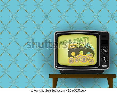 80s Party - Illustration of Retro TV With Luxury Vintage Wallpaper in Background - stock photo