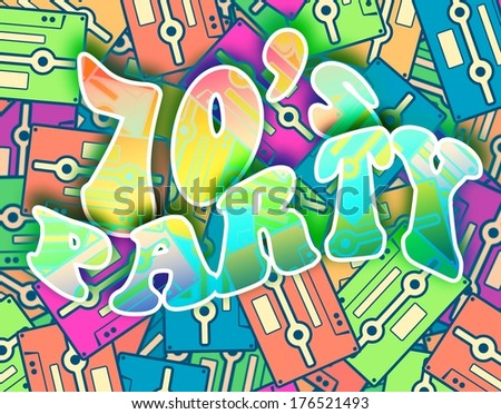 70s party retro concept. Vintage poster design - stock photo