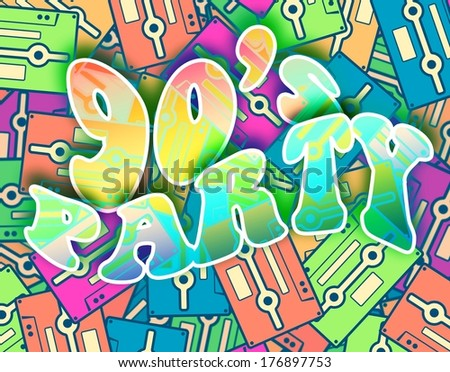 90s party retro concept. Vintage poster design - stock photo