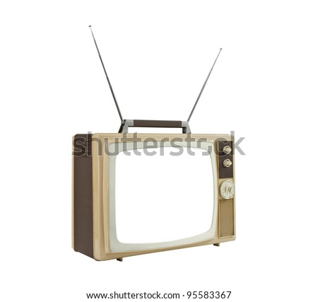 1960's portable TV with antennas up and blanked screen. - stock photo