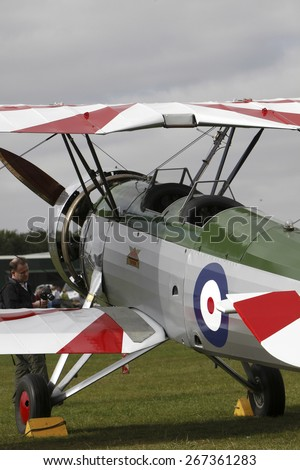 1930's RAF Avro Tutor pilot training biplane aircraft at a Shuttleworth Collection air display at Old Warden airfield, Bedfordshire ,UK.taken 14/07/2013 - stock photo