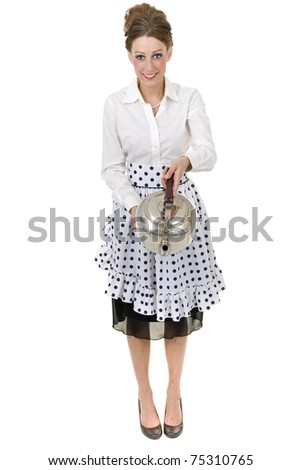 1950s retro and vintage like happy housewife pours a kettle - stock photo
