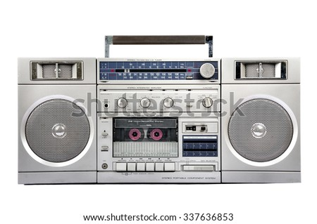 1980s Silver radio boom box with cassette isolated on white background - stock photo