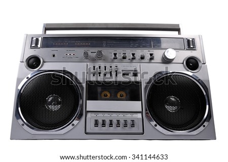 1980s Silver retro ghetto radio boom box isolated on white background with clipping path - stock photo