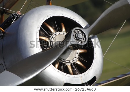 1920's Sopwith Pup biplane aircraft engine and propeller at a Shuttleworth Collection air display at Old Warden airfield, Bedfordshire ,UK. taken 26/09/2012 - stock photo