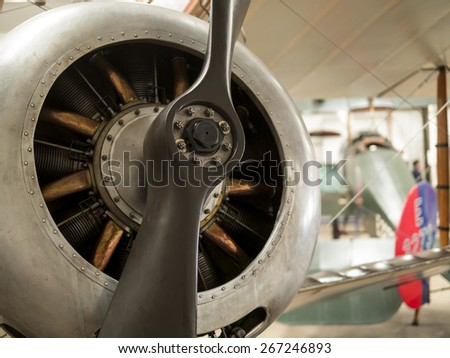 1920s Sopwith Pup biplane propeller at the Shuttleworth Collection,Bedfordshire,UK. taken 26/09/2014 - stock photo