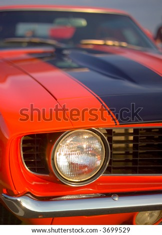 60s sports car head light - stock photo