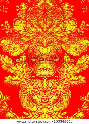 80s style, pop art, bright, neon, beautiful, psychedelic arabesque ornament. Good for abstract or oriental design. - stock photo