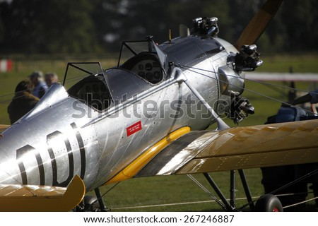 1930's US built Ryan PT-22 pilot training biplane aircraft at a Shuttleworth Collection air display at Old Warden airfield, Bedfordshire ,UK. taken 26/09/2014 - stock photo
