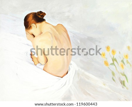 sad crying girl in beds, painting,  illustration - stock photo