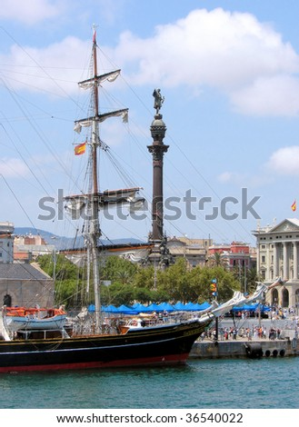 Sailing regatta in port of Barcelona, Spain - stock photo