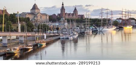sailing ships moored at the wharf ,Haken terraces,Szczecin,Poland  - stock photo