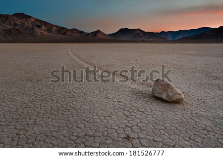 'Sailing Stone' at the Racetrack Playa in Death Valley National Park, California. - stock photo