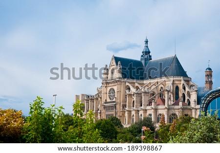 Saint Eustache church in Paris.  - stock photo