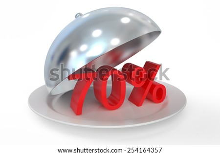 70 %,  sale and discount concept  isolated on white background - stock photo