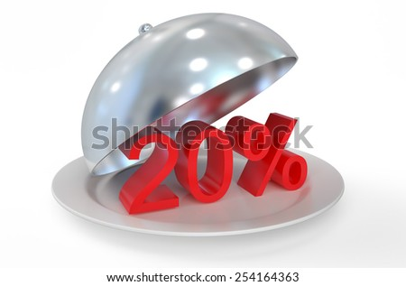 20 %,  sale and discount concept  isolated on white background - stock photo