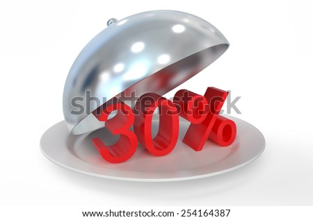 30 %,  sale and discount concept  isolated on white background - stock photo