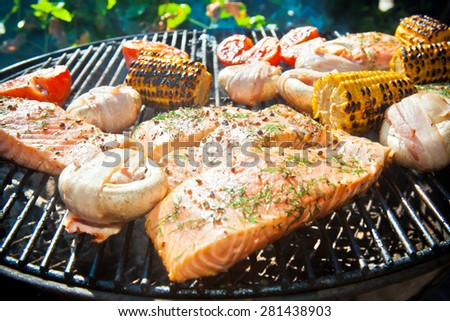 Salmon fillets in a ball grill - stock photo