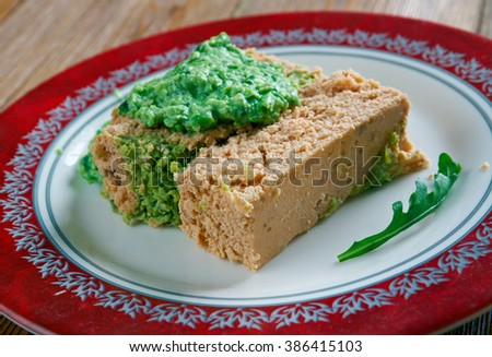 Salmon Terrine , pasta with green beans and herb sauce - stock photo