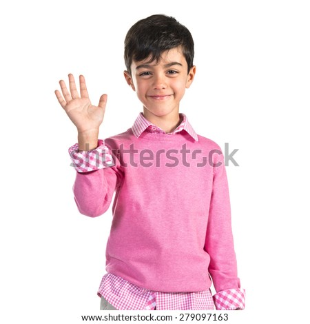 ___ saluting over white background  - stock photo