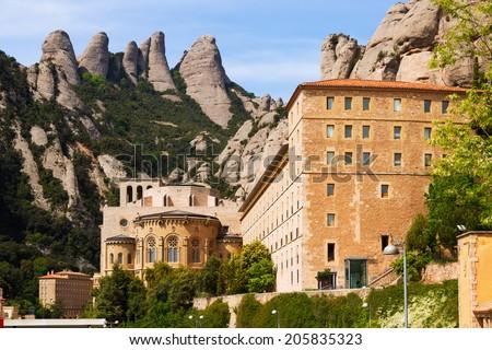 Santa Maria de Montserrat monastery in spring.  Catalonia - stock photo