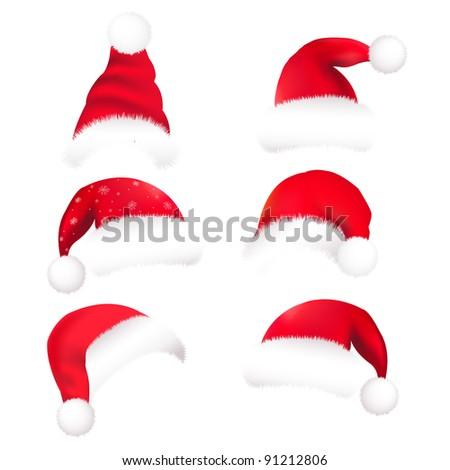 6 Santas Hat, Isolated On White Background - stock photo