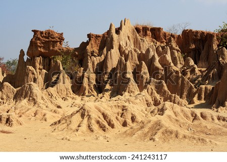 Sao Din Na Noi in Nan province, Thailand, due to soil erosion of Rain and wind naturally  - stock photo