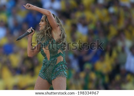 SAO PAULO, BRAZIL - June 12, 2014: American singer Jennifer Lopez performing during the opening ceremony of the FIFA 2014 World Cup at Corinthians Arena. No Use in Brazil. - stock photo