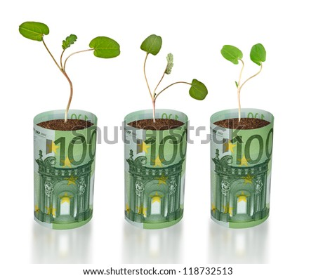 sapling growing from euro - stock photo