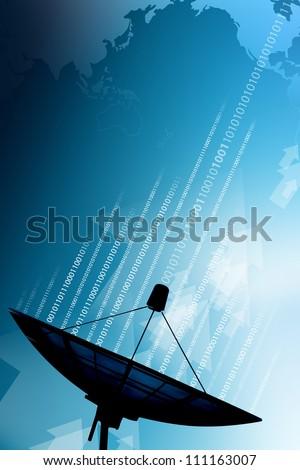 Satellite dish transmission data - stock photo