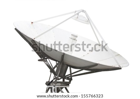 satellite dish with white background - stock photo