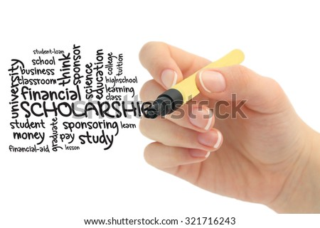 Scholarship wordcloud  - stock photo