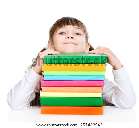 schoolgirl with stack books. isolated on white background - stock photo