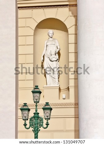 Sculpture by the entrance of the Bolshoi Theater of Opera and Ballet in Moscow - stock photo