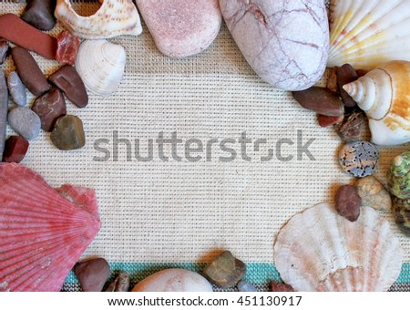 Sea shells and stones background - stock photo