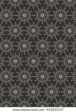 Seamless colored oval  floral pattern on dark gray background - stock photo