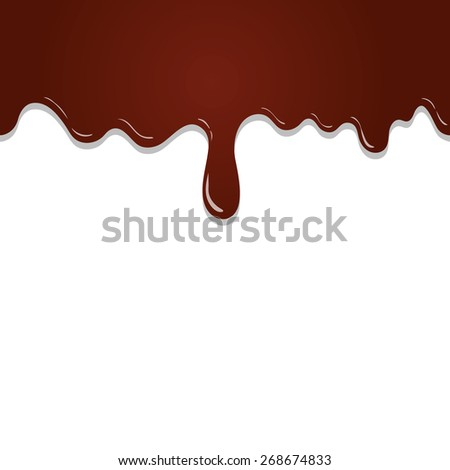 seamless flowing melted chocolate  isolated on white background - stock photo