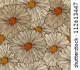 Seamless Pattern with Abstract Flowers - stock photo